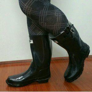 Women's Mid Calf Rubber Rain Boots, #1502, Black